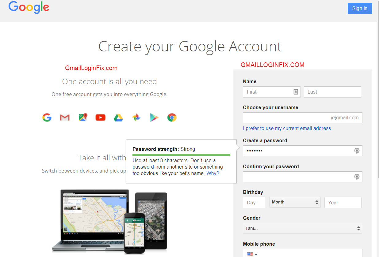 gmail signup
